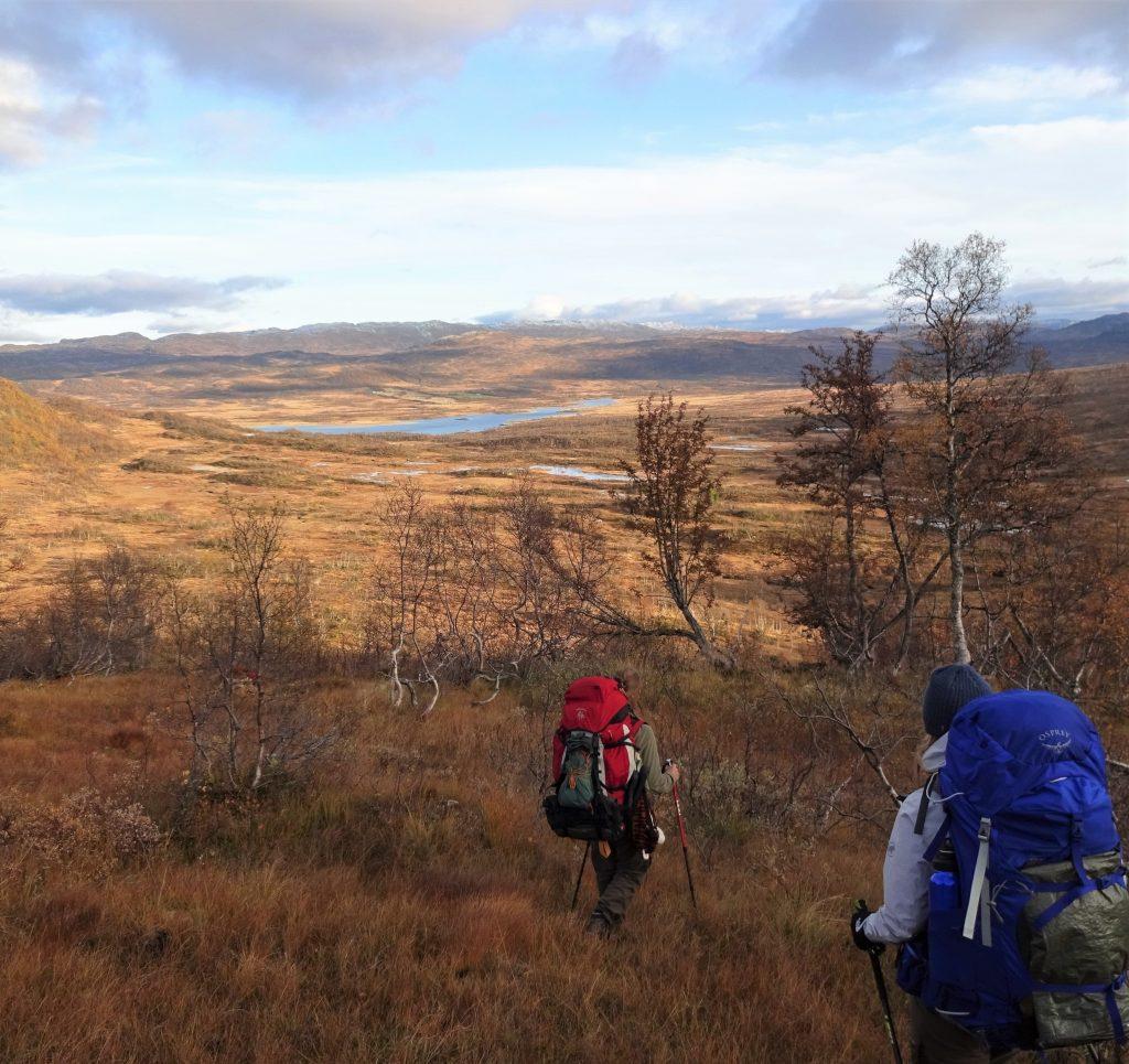 Cursisten hiken met rugzak op en wandelstokken door berggebied in Noorwegen in herfstkleuren.