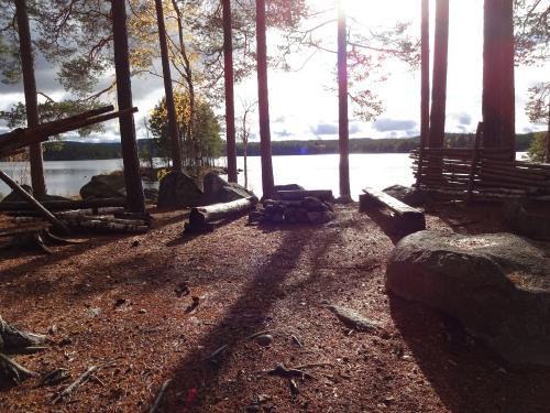 Basiskamp onbewoond eiland tijdens bushcraft cursus in Zweden.