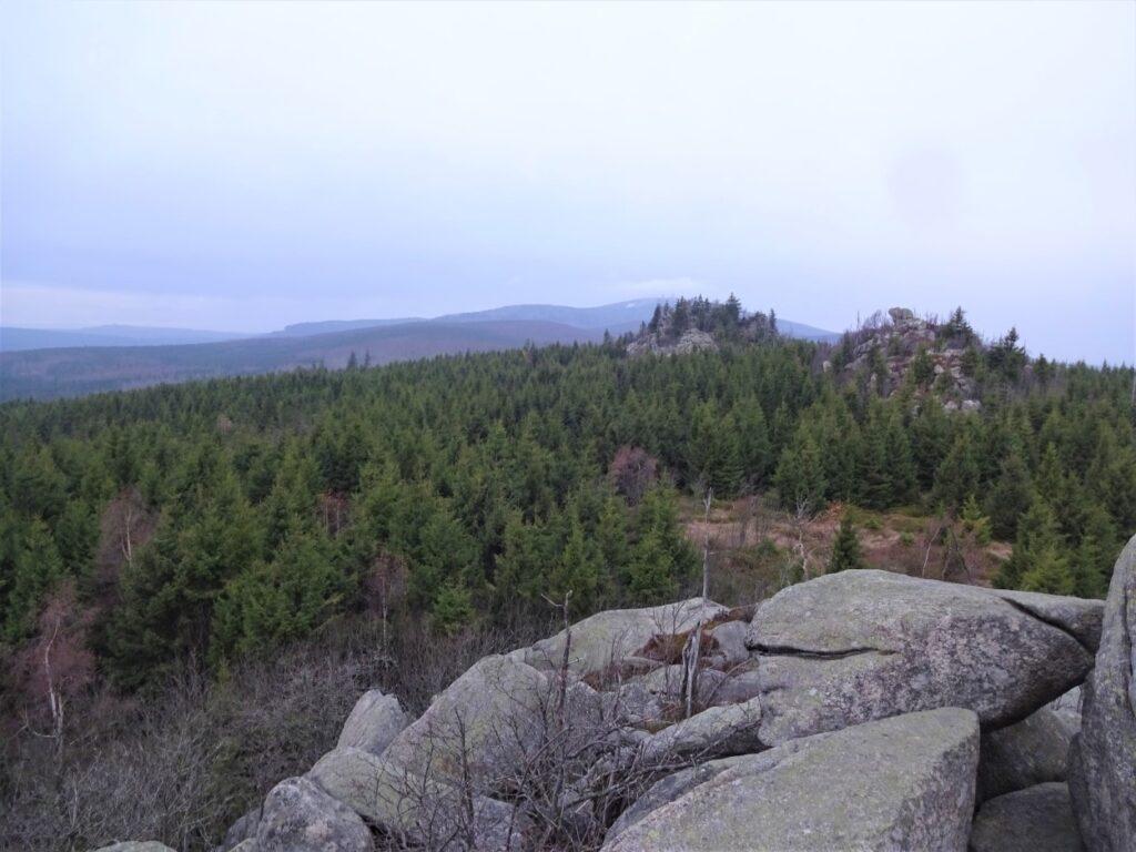 Uitzicht tijdens trekking over in nevel gehuld Harzgebergte Duitsland