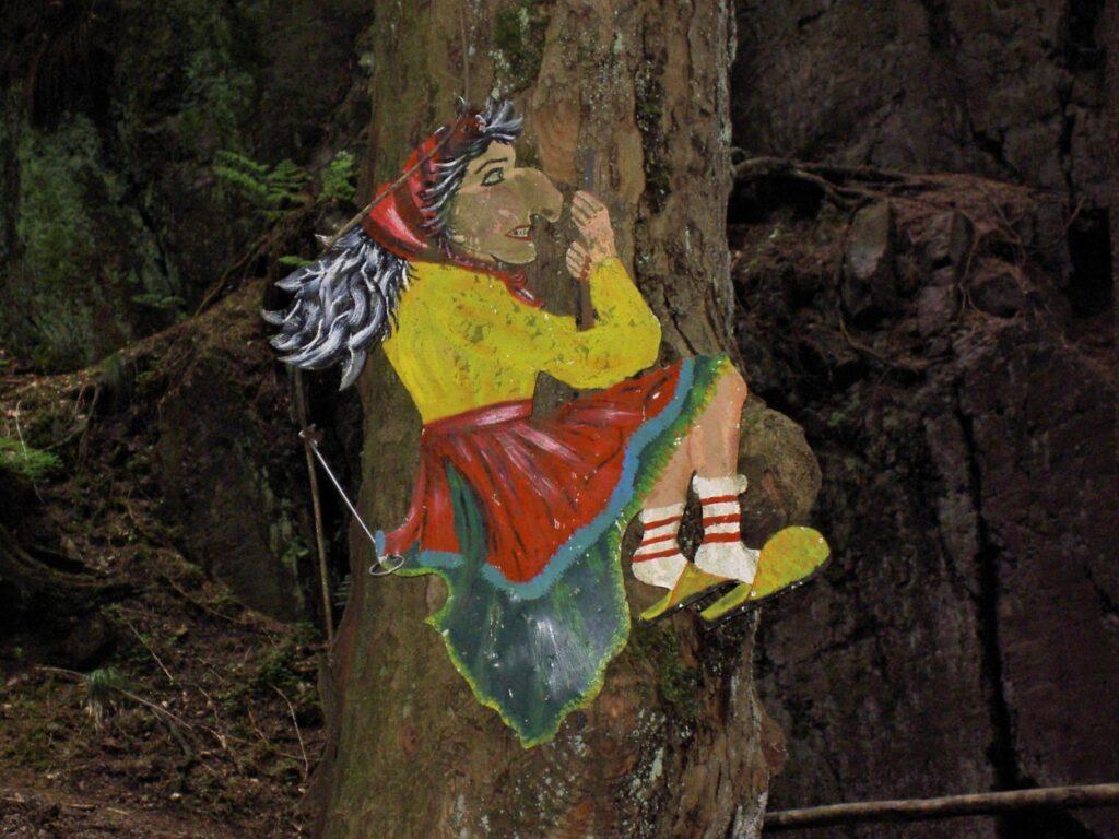 Tijdens wandelen zie je volgens de Harz traditie een heks op een boom